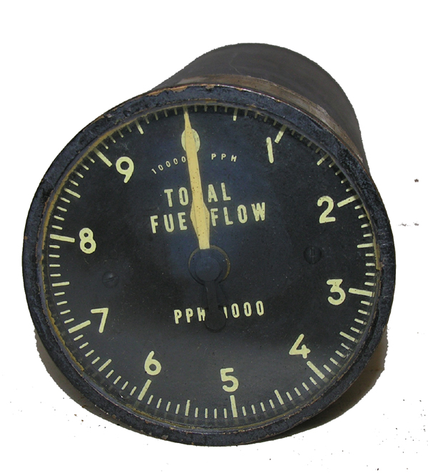 Aircraft Total Fuel Flow Rate Guage Indicator Instrument