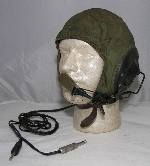 US Navy Green Nylon Flight Helmet with electronics