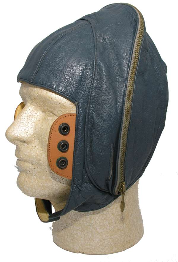 Luftwaffe Leather Flight Helmet with leather oxygen mask tabs