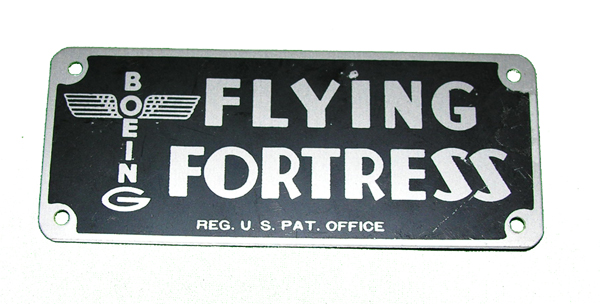 Reproduction Boeing Flying Fortress Data Plate
