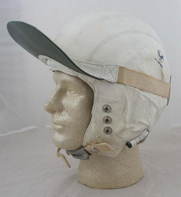 USAF MB-3 White Leather Flight Helmet with Visor