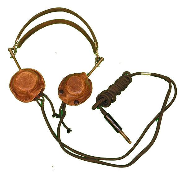 RARE US Navy Headset with Brown Leather Earcups