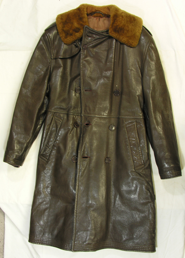 US Navy Full Length Leather Transport Coat