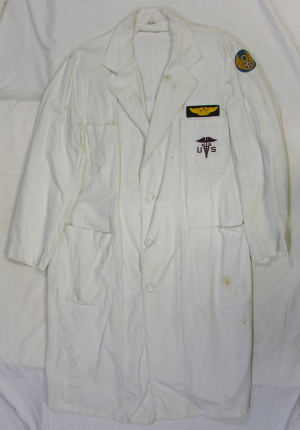 US Army Lab Coat with Flight Surgeon Wings and 8th AF patch