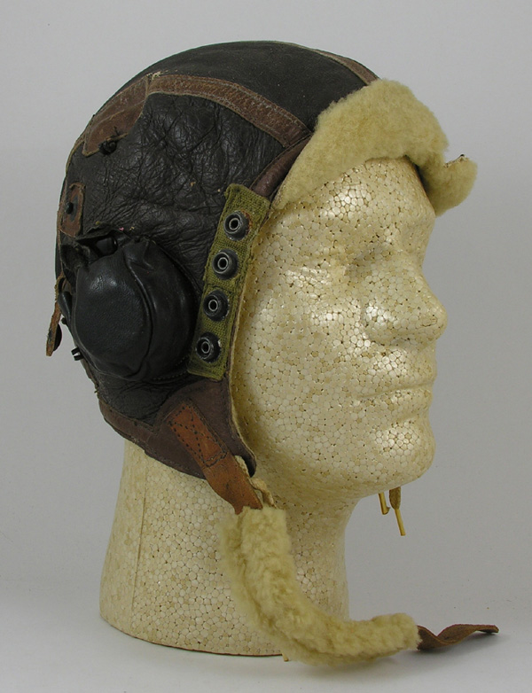 US Army Air Force B-6 Shearling Leather Flight Helmet with earcups
