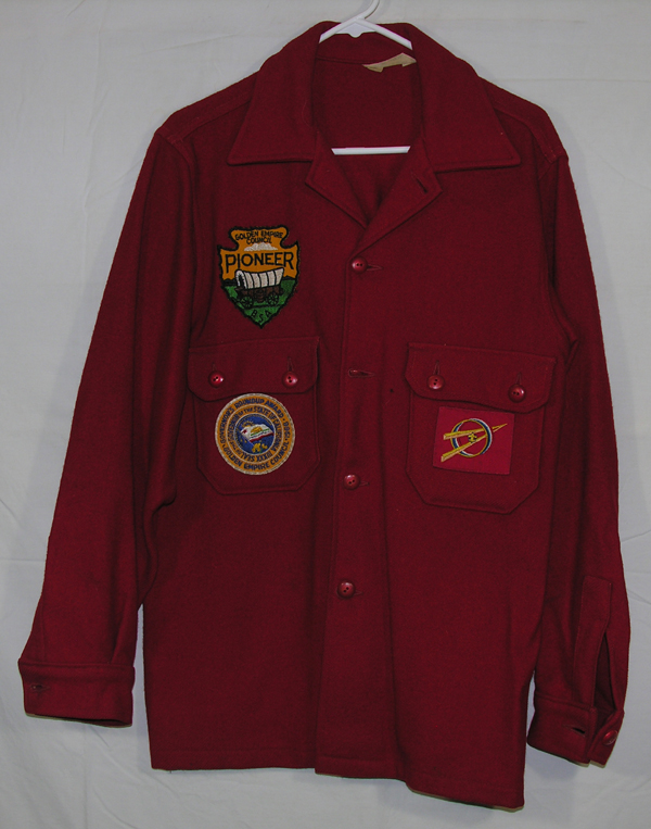Red Wool Shirt with California Golden Empire Council Roundup Boy Scout patches