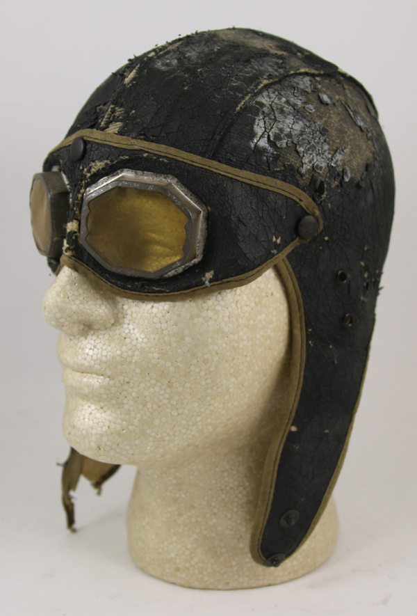 Early Leather Flying Helmet with goggles