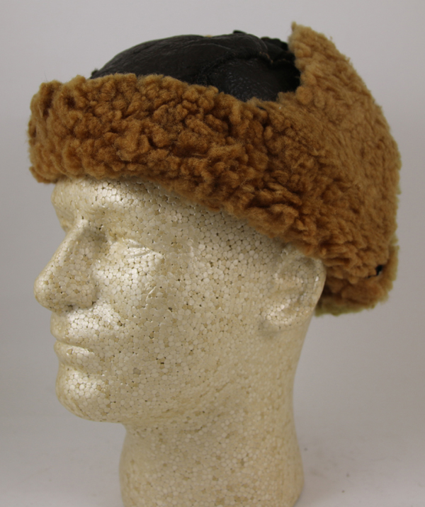 Leather Shearling Winter Cap