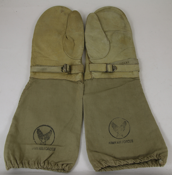 Army Air Force Leather Gloves with cloth sleeves
