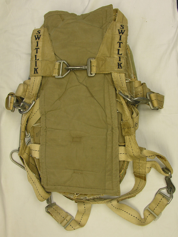 Switlik Safety Chute Quick Attachable Back Parachute Harness Pack and Canopy
