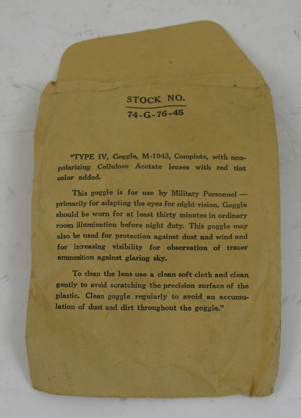 USAAF M-1943 Type IV Night Vision Adaption Goggles Envelope