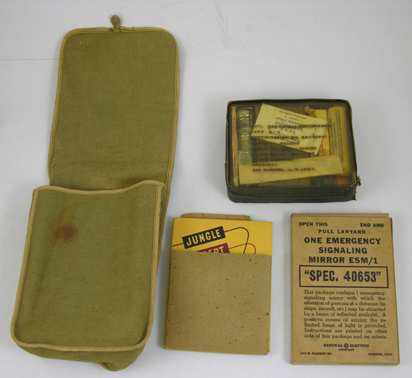 USAAF E-3 Survival Kit in cloth carrying case with mirror and book