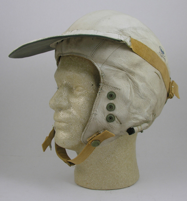 USAF MB-3 White Leather Flight Helmet with sun visor