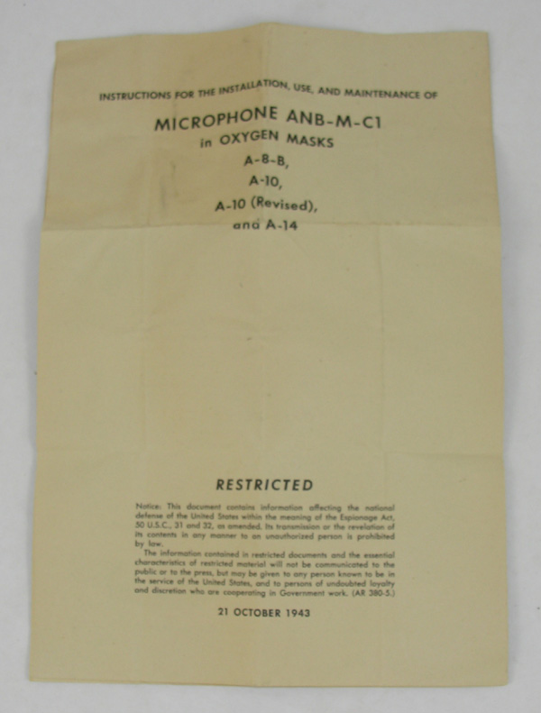 USAAF ANB-M-C1 Oxygen Mask Microphone Instructions