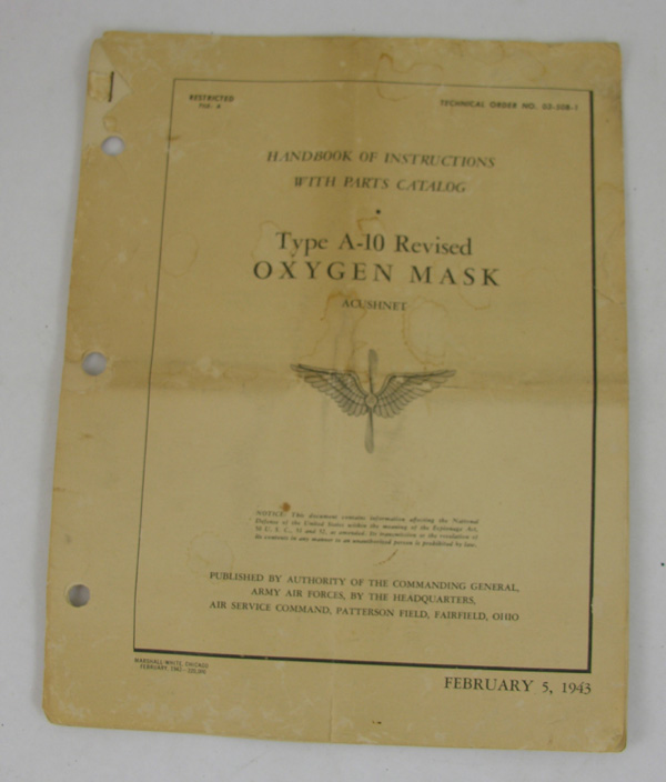 USAAF A-10 Revised Oxygen Mask Instructions