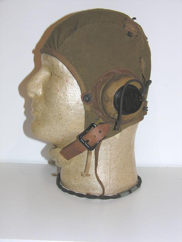 RARE A-9 Flight Helmet with rigger added sponge rubber earcu