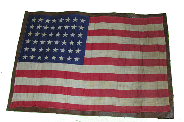USAAF Cloth American Survival Flag sewn on Leather