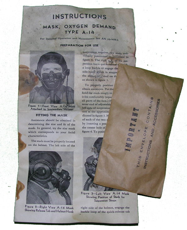 USAAF A-14 Oxygen Mask Instructions and Parts Envelope