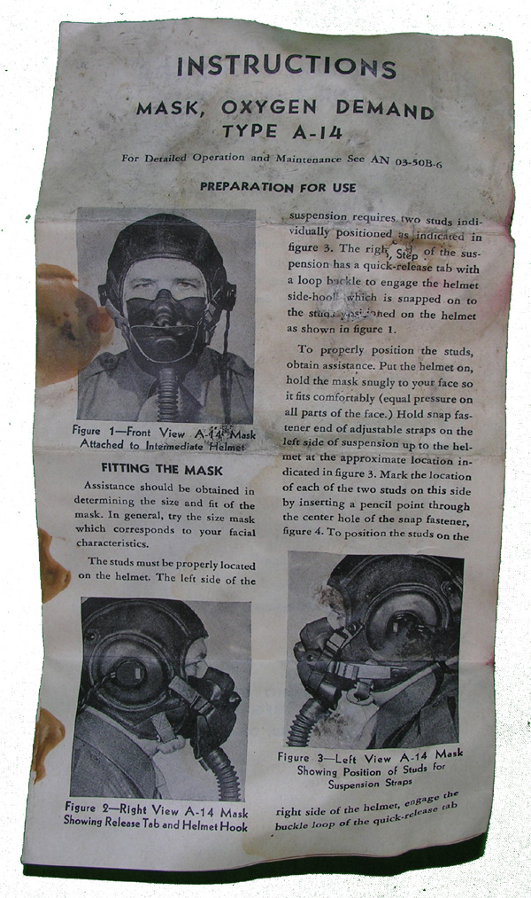 USAAF A-14 Oxygen Mask Instructions Sheet