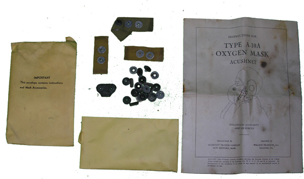 USAAF A-10A Oxgyen Mask Instructions and Parts Envelope
