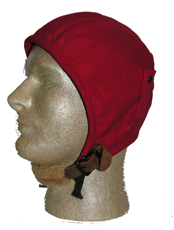 USAAF commercial A-9 style Flight Helmet dyed red with leather chin strap