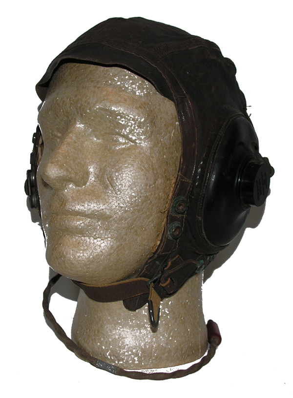 Early A-11 Flight Helmet with field added oxygen mask snaps