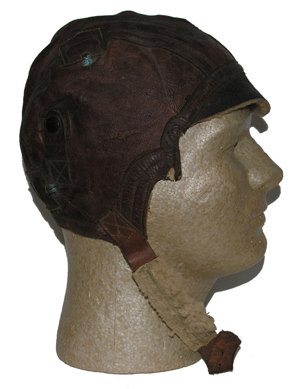 Late model B-5 Flight Helmet with cut-out cheeks for A-10 oxygen mask