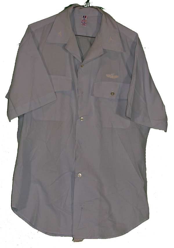 USAF Khaki Shirt with embroidered Colonels Insignia and Command Pilot Wing