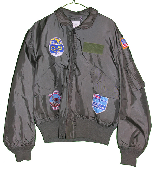 USAF CWU-36/P Flight Jacket with patches on front ane embroidery on back