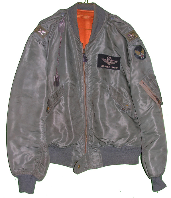 USAF L-2B Flight Jacket with patches and dog tags