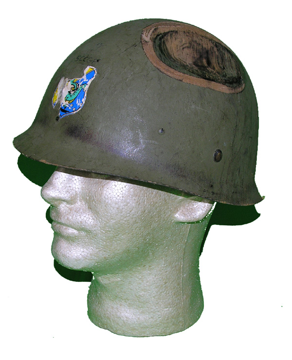 US GI Helmet Liner with large dent in top