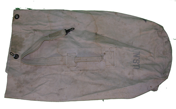 US Navy marked White Cloth Duffle Bag