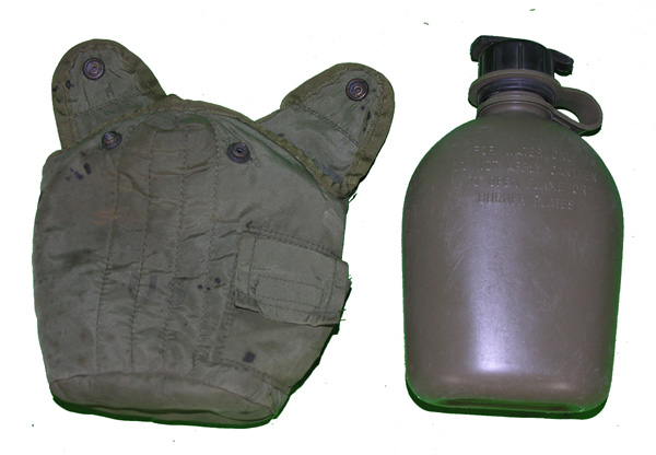 US GI Green Plastic Canteen and Case