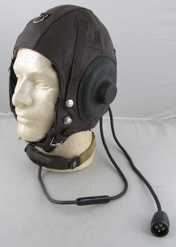 Chinese Leather Flight Helmet with throat microphone