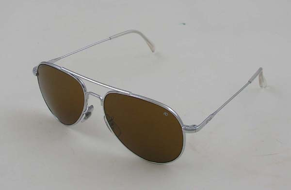 """American Optical's General Sunglasses, Silver Frame, Wire Spatula Temples"""