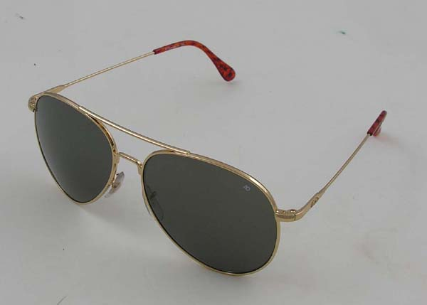 """American Optical's General Sunglasses, Gold Frame, Wire Spatula Temples"""