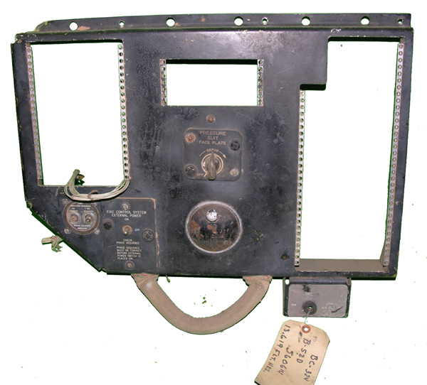B-52D Aircraft Instrument Panel with Pressure Suit Control