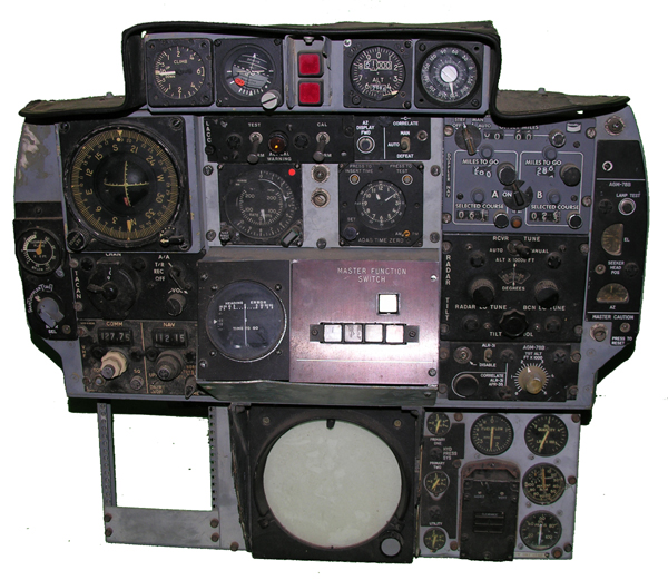USAF F-105 Rear Seat Instrument Panel with Instruments