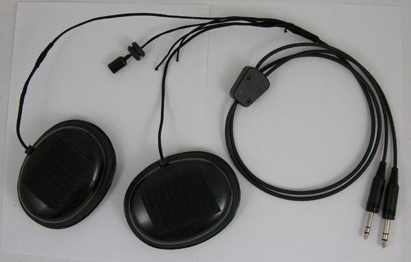 Flight Helmet Plastic Earcups with communications cable Assembly