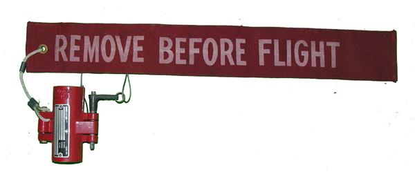 Aircraft Remove Before Flight Flag with Emergency Pump Lock
