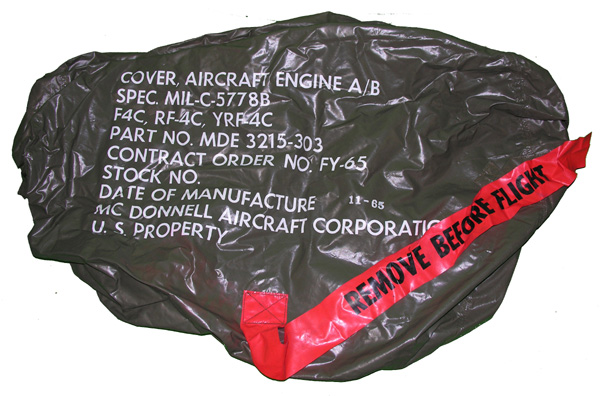 F-4C Aircraft Engine Cover with Remove Before Flight Flag