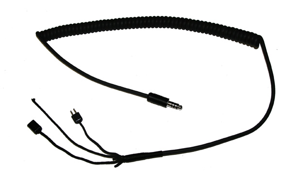 Flight Helmet Drop Cable with coiled cord