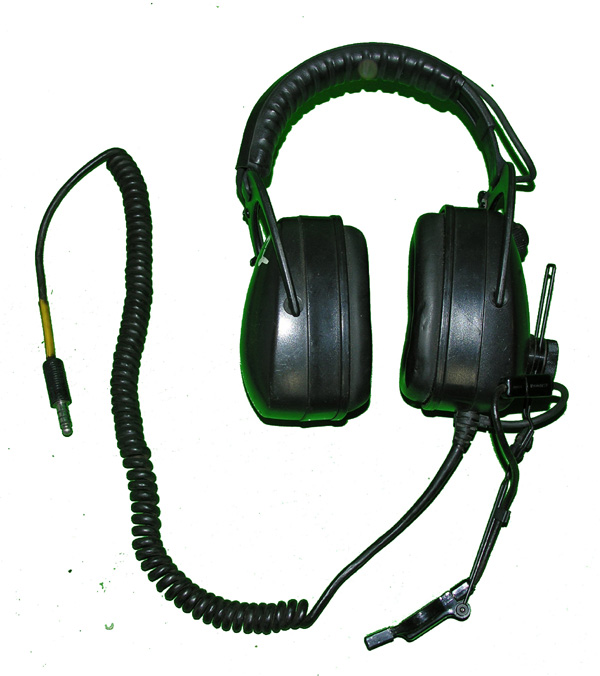 Military Headset with U-174 plug microphone and coiled cord